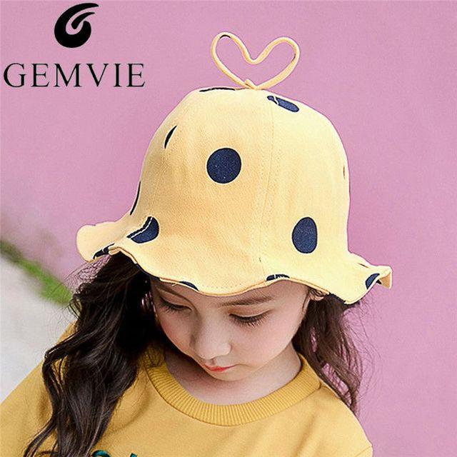 979f0fab81f79 Kids Baby Dot Printed Bucket Hats With Heart Ear Fisherman Bob Cap Boys  Girls Outdoor Wide Brim Beach Sun Cap