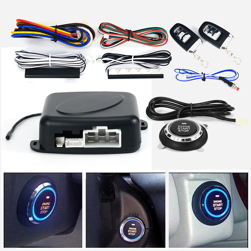 Auto car One start stop engine system with remote control Car PKE keyless entry system start stop button for 12V SUV RFID lock easyguard car security alarm system with pke passive keyless entry remote lock remote engine start stop keyless go system dc12v