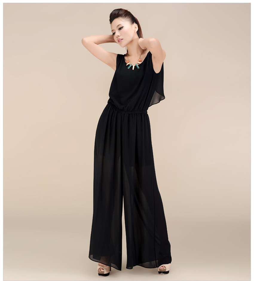 Chiffon Lace Jumpsuits mono mujer largo casual body suits for women combinaison pantalon femme elegante Wide leg pants 11