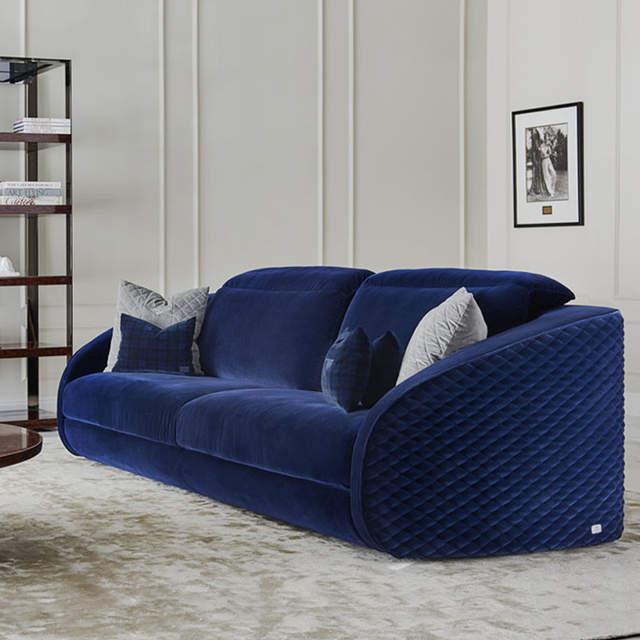 US $530.0  Light luxury modern sofa leather fabric sofa high end hotel  model room villa luxury living room furniture customization-in Living Room  ...