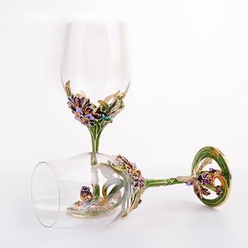 European High-grade Lead-free Crystal Wine Glass Enamel Iris Gift Goblet/ Fashion red wine glass/ Creative send Friend gift