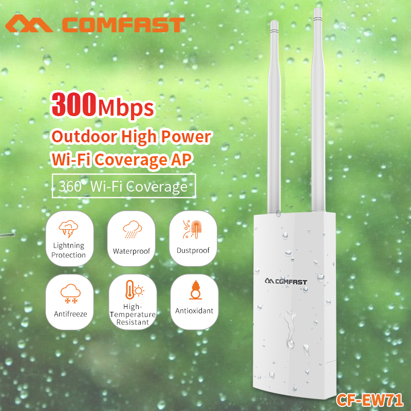 EU Plug 300Mbps 2.4Ghz  Wireless Router High Power Outdoor AP 360degree Omnidirectional Coverage 5dBi*2 Antenna Wifi BaseStation