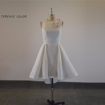 Fashion Flower Short Lace A-line Pleat Party Dress Custom Made
