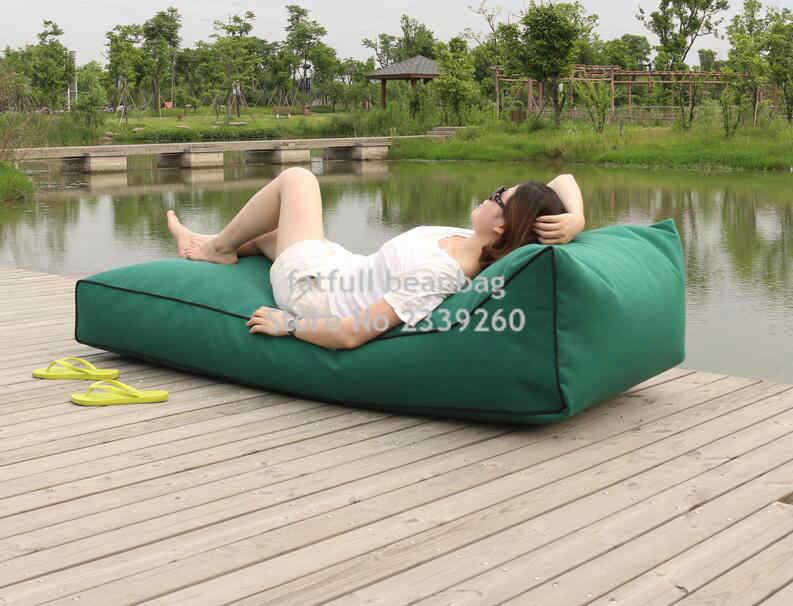 COBRIR APENAS, cadeira do saco de feijão sem enchimento-Long beach, beanbag assento do sofá à prova d' água, confortável ao ar livre espreguiçadeira de feijão, nenhum feijão