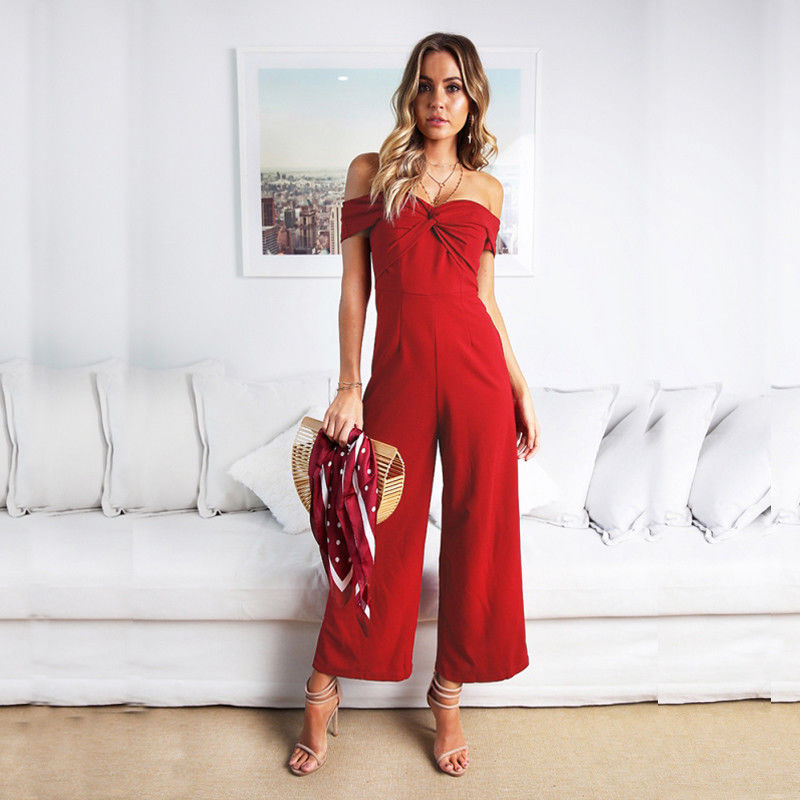 Hot Selling New Fashion Women Off Shoulder Jumpsuit Solid