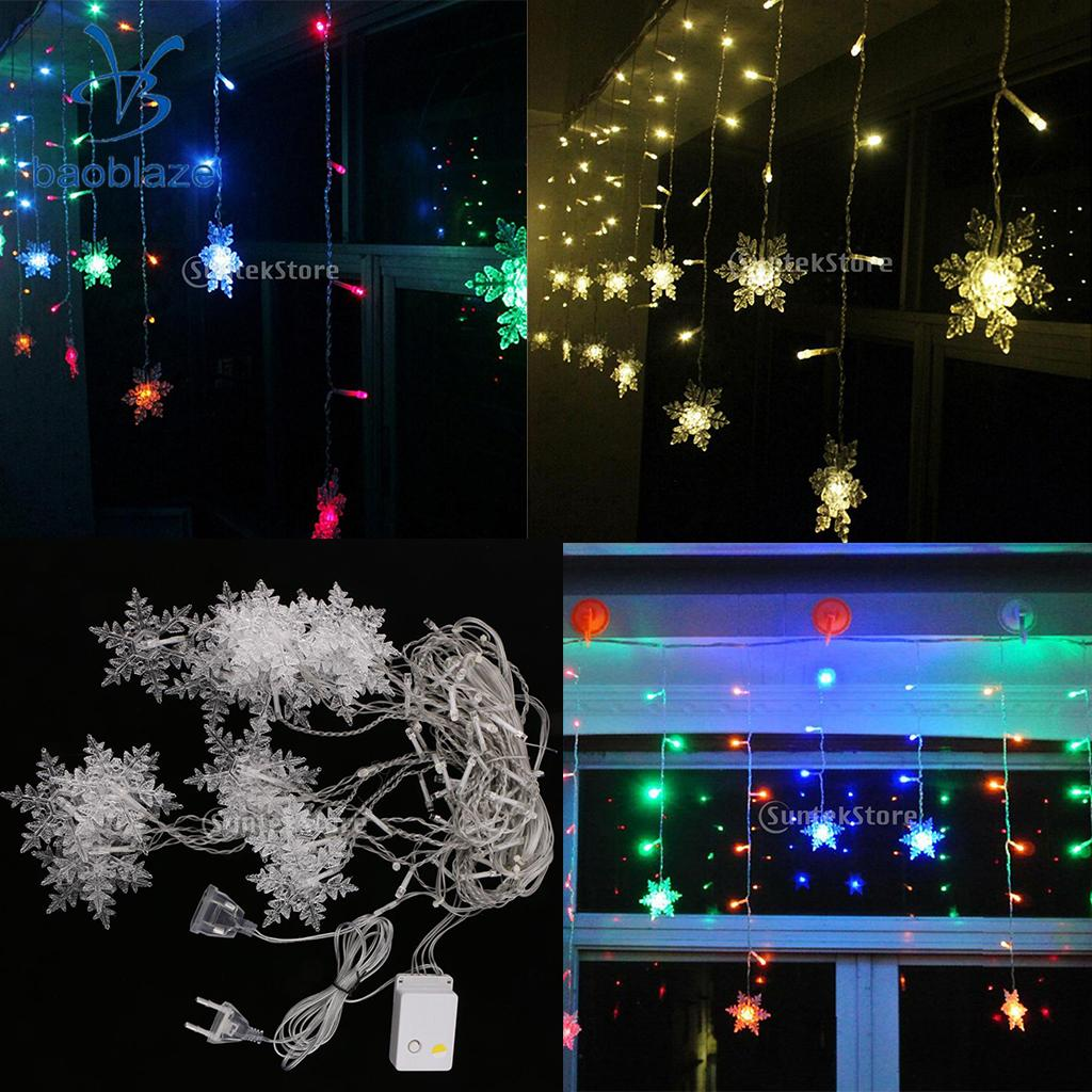 Snowflake Sting Fairy Light Curtain Pendant Lamp for Wedding Christmas DIY Decoration EU Plug