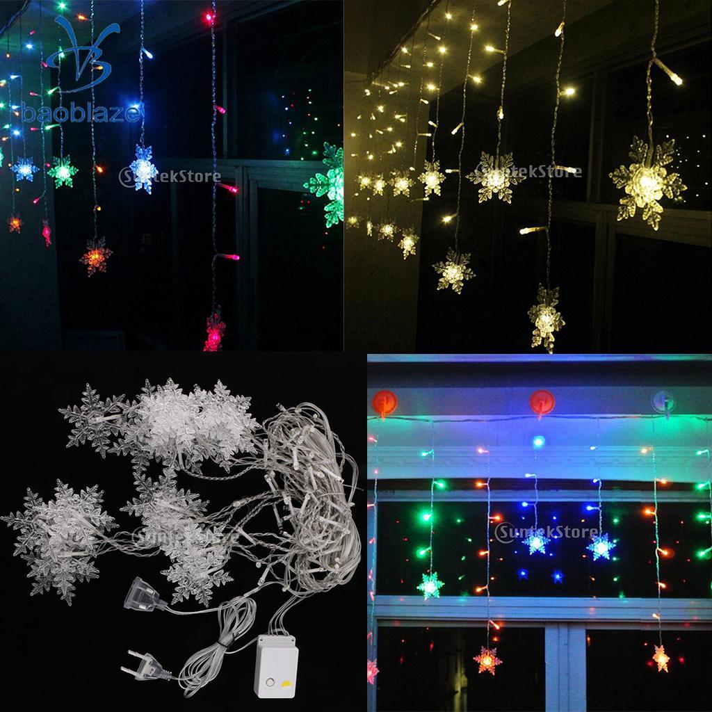 Snowflake Sting Fairy Light Curtain Pendant Lamp for Wedding Christmas DIY Decoration EU Plug