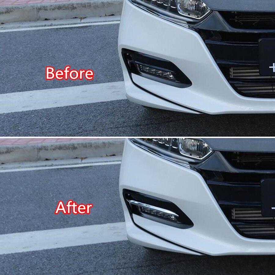 2Pcs Carbon Fiber Front Fog Light Eyebrow Clip Cover Trim For Honda Accord 2018 Automotive