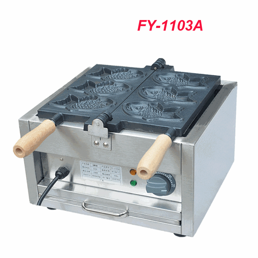 1PC FY-1103A 110V/220V Electric A Plate 3 Fish Taiyaki Maker Machine Snapper Machine with Recipe Fish Waffle Baker image