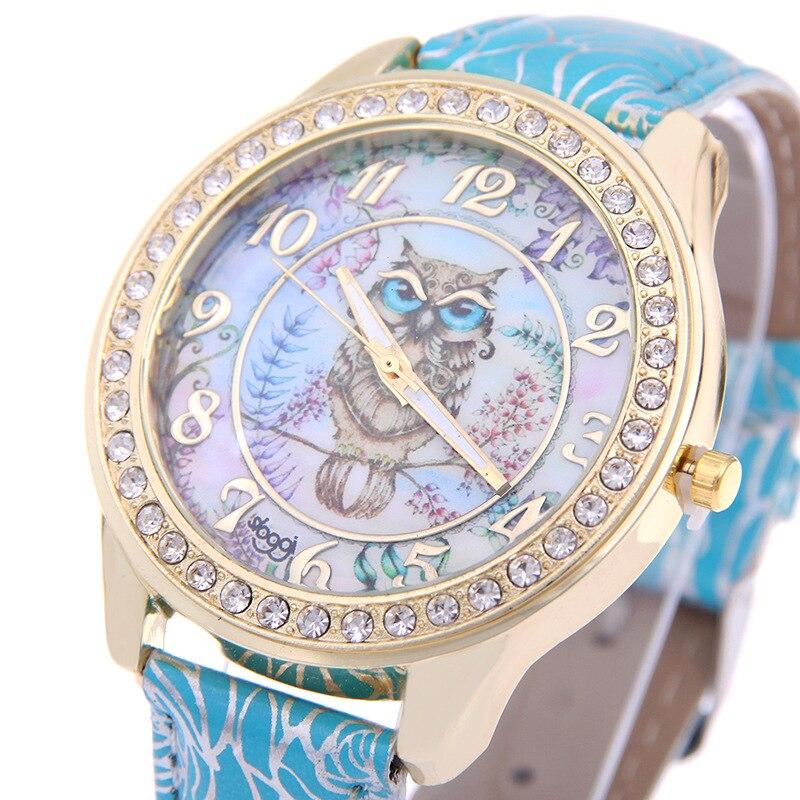 MINHIN Top Brand Luxury Wristwatch Ladies Rose Pattern Leather Bracelet Watches Owl Design Gold Rhinestone Casual Watch Relojes