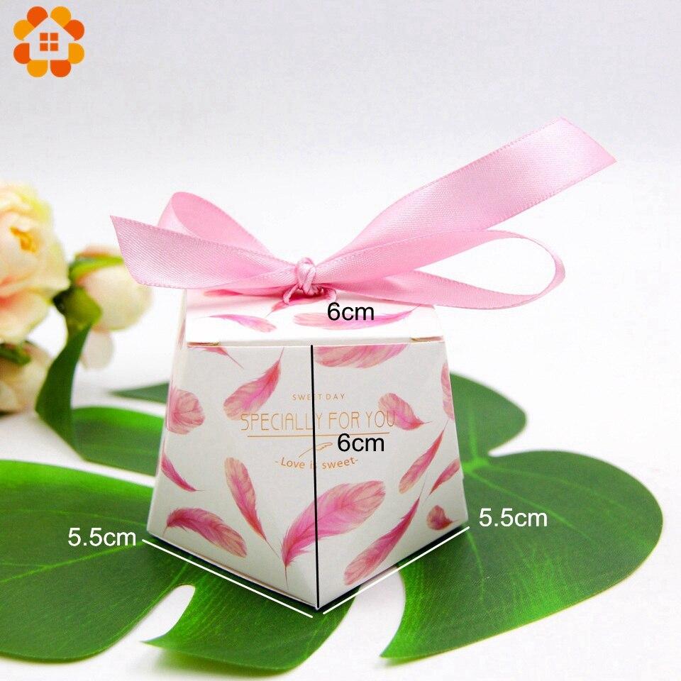 10PCS/Lot Flamingo/Pink Feather Gift Box Polygonal Candy Pattern ...
