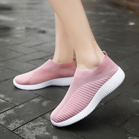 2019 Women Sneakers Breathable Running Shoes Sock Sneakers Women Summer Slip on Flat Shoes Women Plus Size Loafers Walking Flat