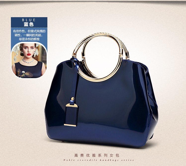 Promotion of new women's bags,Patent Leather Women Bag Ladies Cross Body Shoulder Bags Handbags Blue one size 30