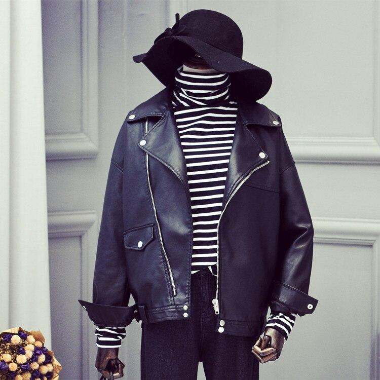 2018, ограниченная по времени распродажа Chaquetas de Cuero Mujer Для женщин кожаная куртка женская свободные большие размеры костюм воротник небольшой... ...