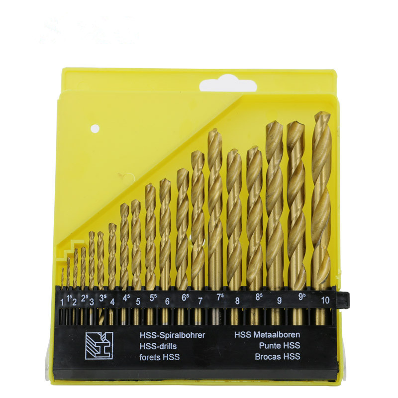 Titanium HSS Twist Drill Bit Set 1.0 ~ 10mm Round Shank for Metal Power Tool Accessories 15 pieces titanium coated hss twist drill bit set with 1 4 hex shank for metal power tool accessories 3 0 5 0mm