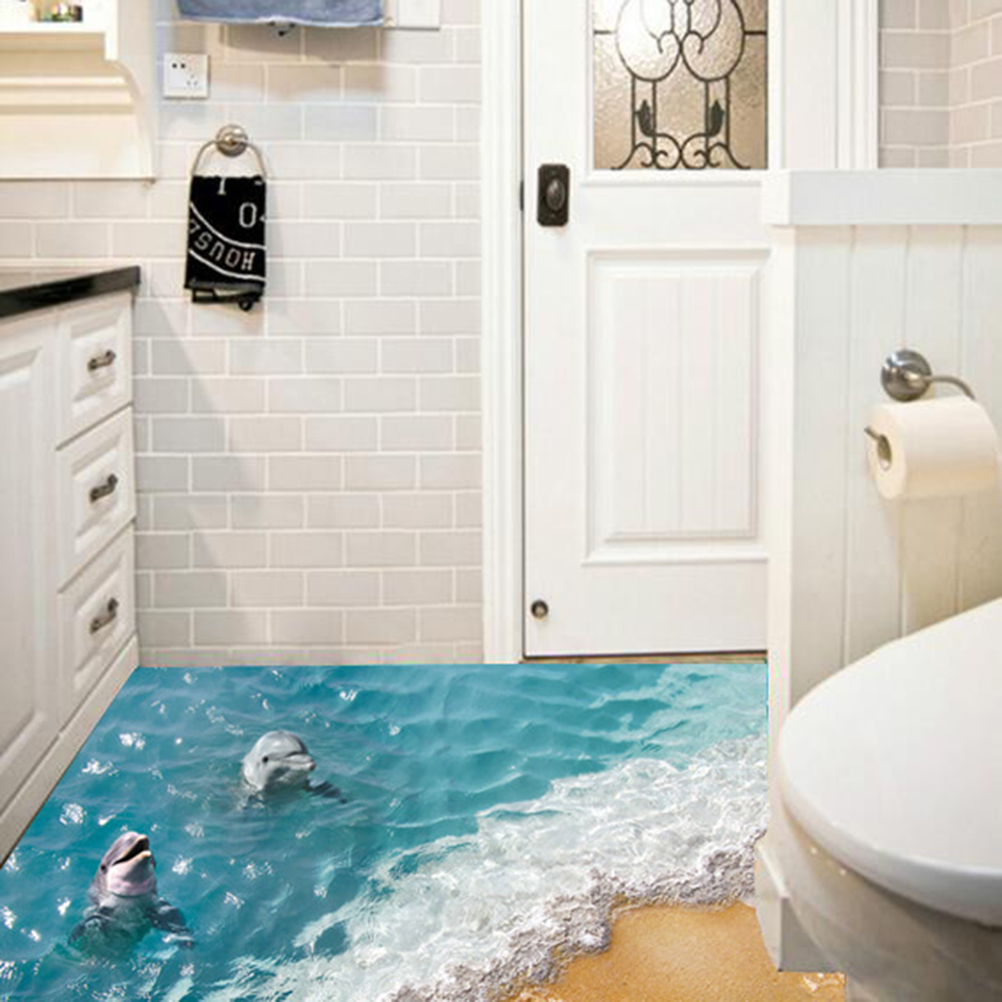 Waterproof 3D Dolphin Floor Stickers Bathroom Starfish Wall Stickers ...