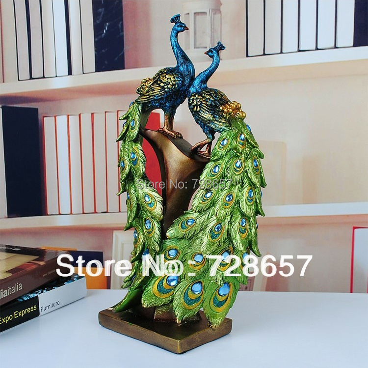 Traditional Chinese Peacock Couple Sculpture Lovers Peacock Statue Mascot Craft Ornament Wedding Decoration Valentine's Day Gift-in Statues & Sculptures from Home & Garden    2
