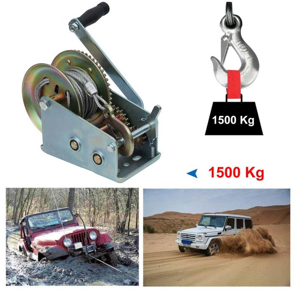 Newest Hand Power Puller 1500kg Manual Winch With 10M Wire Rope Professional Boat Lifting Sling Heavy Duty Lift Winch professional manual winch with strap 1500kg 8 meters boat trailer lifting sling universal car hand power puller new