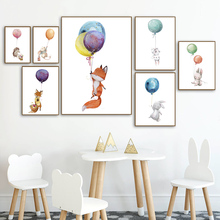 Cartoon Fox Rabbit Hedgehog Wall Art Canvas Painting Nordic Posters And Prints Cute Animals Pictures For Kids Room Decor