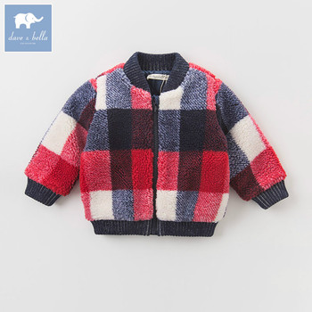 DB5476 dave bella autumn infant baby boys fashion coat kids toddler color plaid coats children hight quality clothes