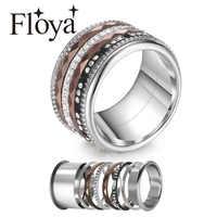 Floya Newness Stainless Steel Rings Titanium Ring Black Full Zircon Band Interchangeable Arctic Symphony Wedding Ring Femme