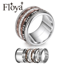 Floya Titanium Rings Black Stainless Steel Ring For Women Wedding Interchangeable Full Zircon Band Bague Femme Acier Inoxydable