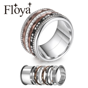 Image 1 - Floya Titanium Rings Black Stainless Steel Ring For Women Wedding Interchangeable Full Zircon Band Bague Femme Acier Inoxydable