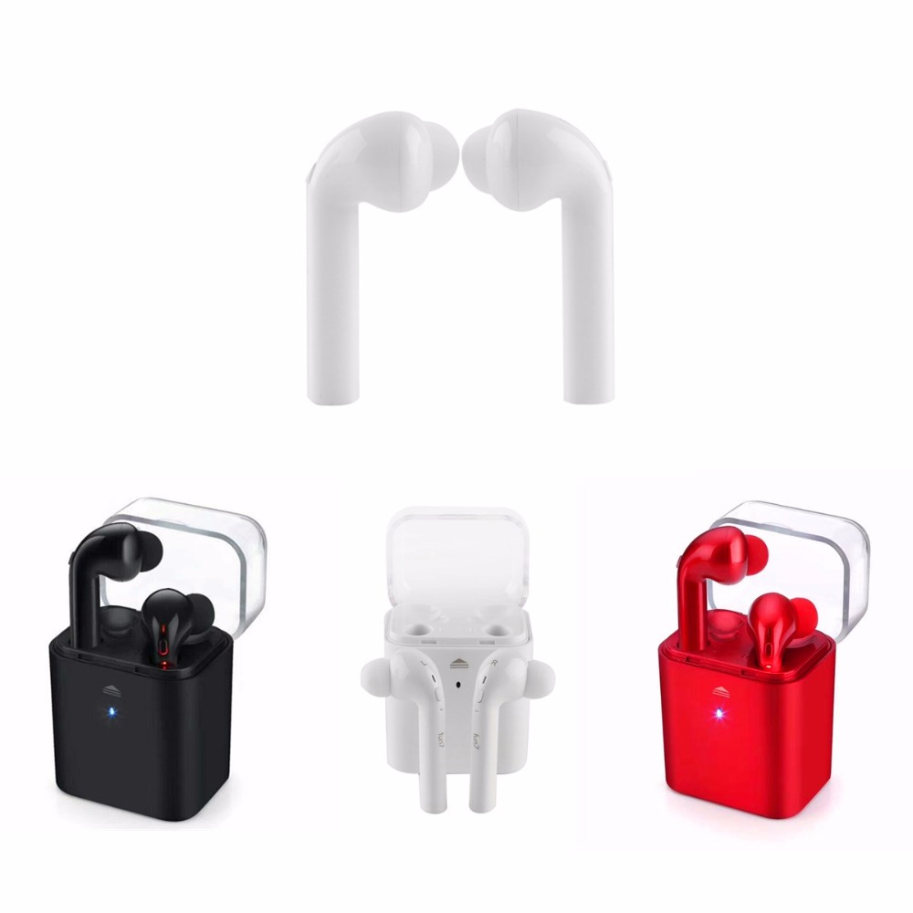 JRGK Sweatproof Mini Bluetooth Earbuds Fantime FUN7 Wireless stereo with Charging Box Noise Cancelling Pair Earphone with Mic