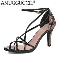2017 New Plus Big Size 33-43 Black Apricot Buckle Fashion Sexy High Heel Summer Girl Female Lady Women Sandals L874