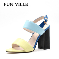 FUN VILLE 2017 New arrival Women Sandals 10cm rome style High Heels Shoes Fashion mixed colors Buckle strap size 35-42