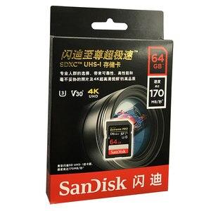 Image 3 - Oryginalny nowy SanDisk ekstremalny profesjonalista karta SD 64GB 128GB 256GB 170 MB/s Carte SD SDXC Class10 C10 U3 V30 4K UHD dla karty SD aparatu