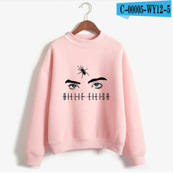 New Fashion Billie Eilish Pink Hoodie Women Long Sleeve Turtleneck Sweatshirt K-POP Hip Hop Pullover Jumper Harajuku Tracksuit 5