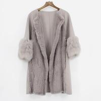 2018 new lady elegant real cashmere coat with mink fur fox fur coat European mink fur jacket women luxury spring autumn outwear