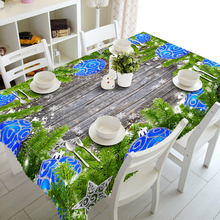 3D Tablecloth Christmas Tree Blue Jingle Bell Pattern Waterproof Cloth Thicken Rectangular and Round Table for Wedding