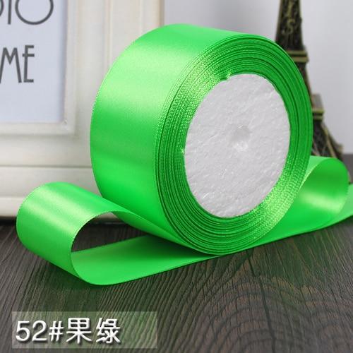 25 ярдов/рулон 6 мм, 10 мм, 15 мм, 20 мм, 25 мм, 40 мм, 50 мм, шелковые атласные ленты для рукоделия, швейная лента ручной работы, материалы для рукоделия, подарочная упаковка - Цвет: Fruit green