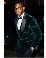 One Button Dark Green Velvet Groom Tuxedos Peak Lapel Mens Wedding Suits Formal Dress (Jacket+Pants+Vest+Tie) Custom Made