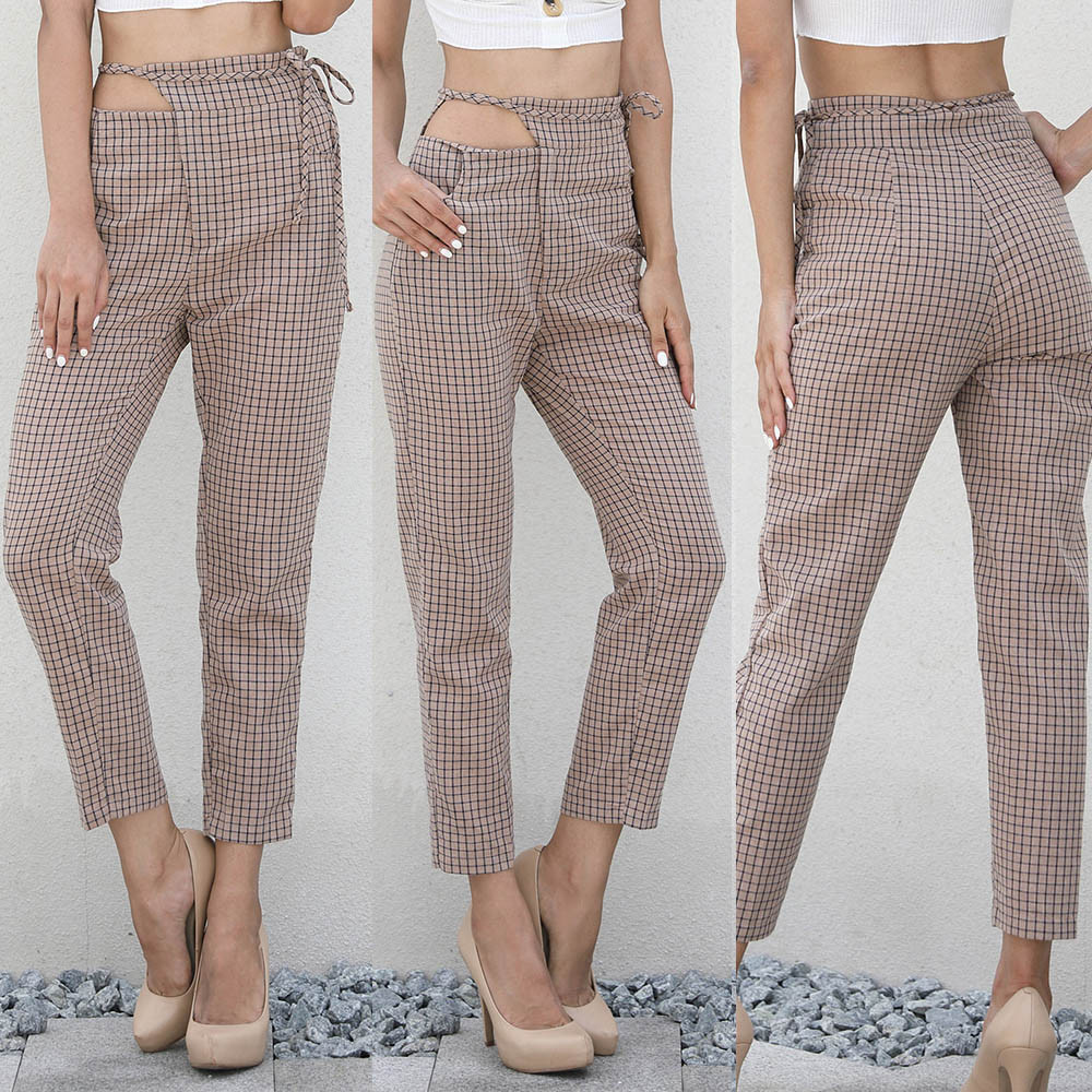 Lady plaid nine-minute trousers fashion canrr cheap women plaid trousers ladies summer loose pants #j45