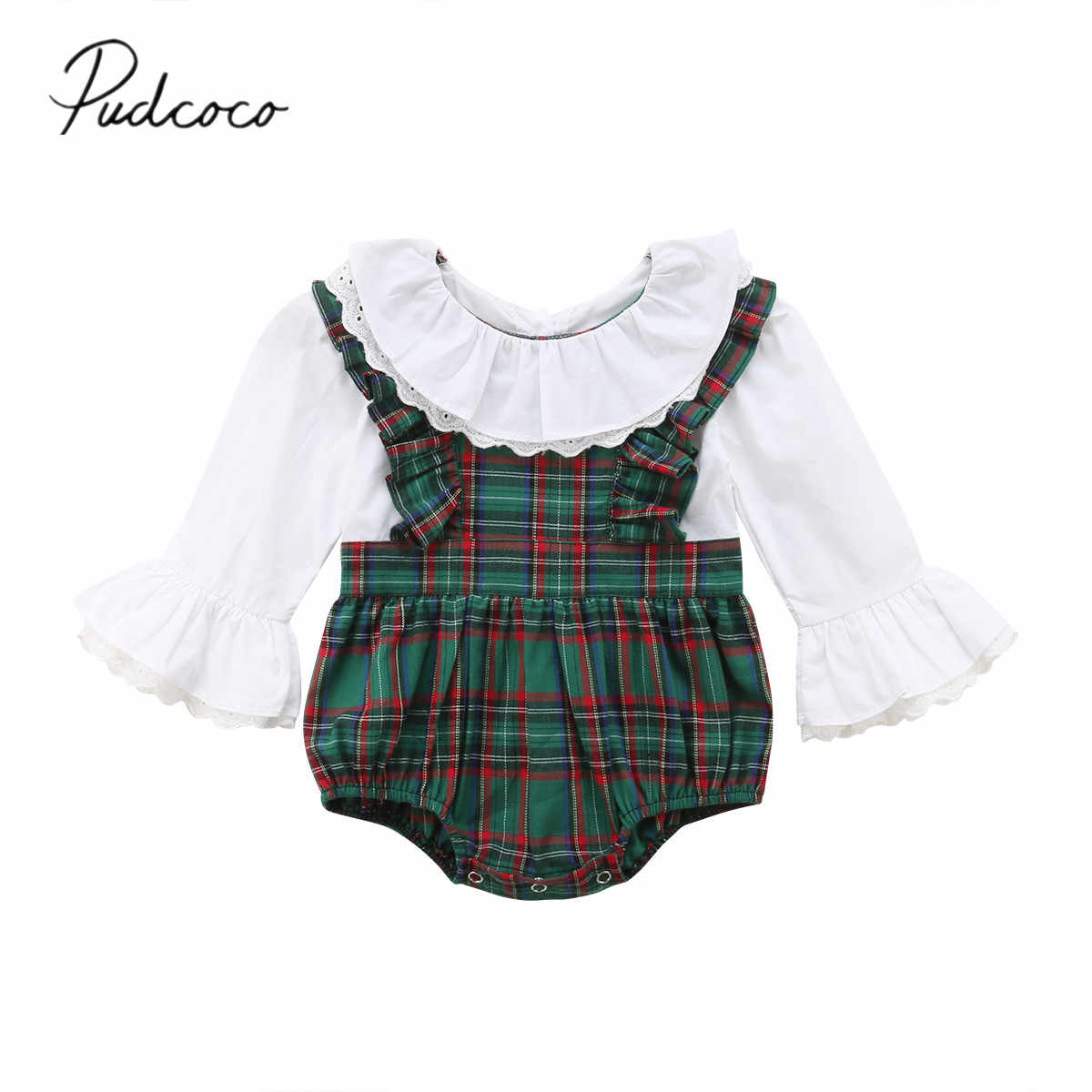 2018 Brand New 0-24 m Pasgeboren Baby Baby Meisjes Bodysuits Lange Flare Mouw Plaid Patchwork Ruches Jumpsuits Herfst playsuit
