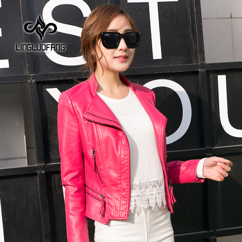 ladies   leather   jacket spring and autumn Slim short paragraph motorcycle   leather   jacket women black and pink   leather   coat15H116