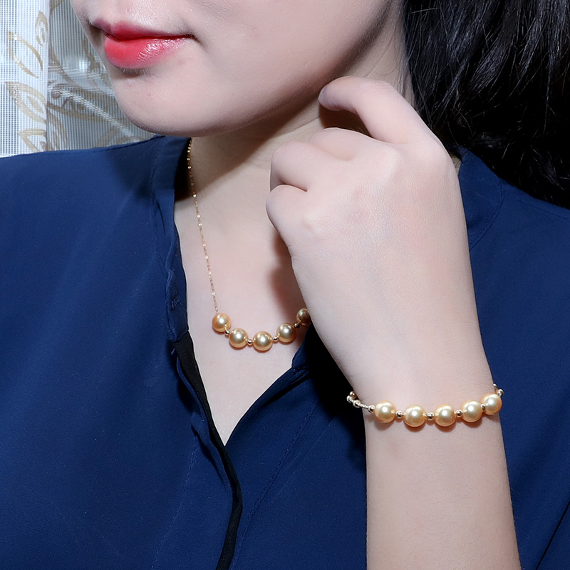 [YS] 18K Gold Bracelet Hanadama Japanese Akoya Saltwater Pearl Bracelet
