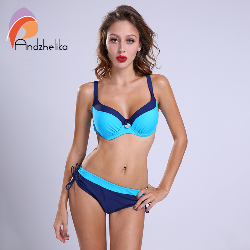 Andzhelika 2018 bikinis Women Swimwear Sexy Bikini Set Large Cup Push Up Swimsuit Solid Patchwork Maillot de bain Biquini AK1605 ruuhee new arrival bikini swimwear swimsuit women sexy bikini set bathing suit biquini push up beach 2017 maillot de bain femme
