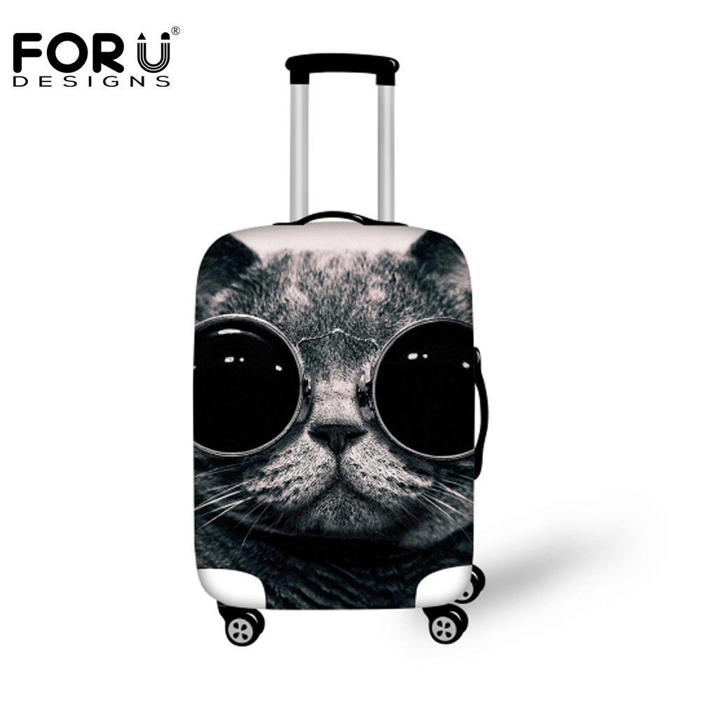 FORUDESIGNS Cool Black Cat Suitcase Luggage Cover For 18-30inch Trolley Suitcase Bag Elastic Protective Cover Travel Accessories