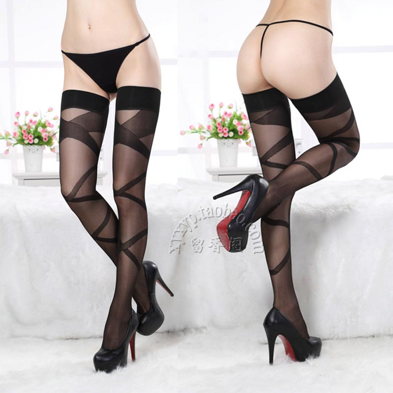 Sexy Striped stitching Temptation Funny Lace Black Fishnet Thigh High Stockings Women Stockings Drop Amaizing