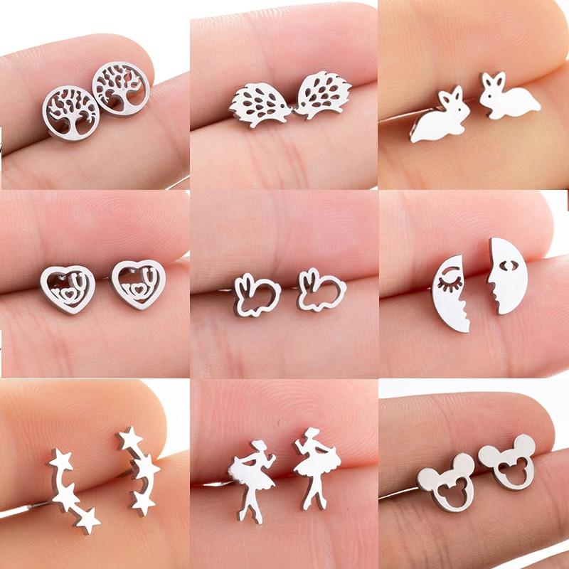 Jisensp Stainless Steel Mickey Stud Earrings For Women Kids Cartoon Rabbit Hedgehog Star Earrings Jewelry Animal Earings Gifts