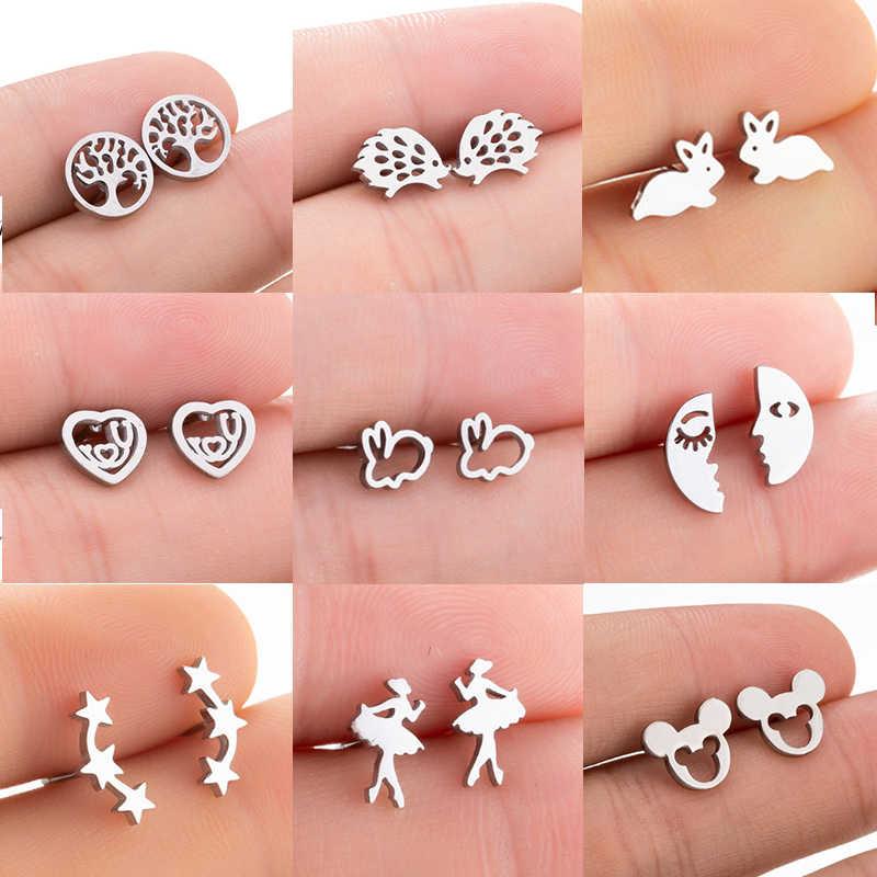 fac54ebb71bf8 Jisensp Stainless Steel Mickey Stud Earrings for Women Kids Cartoon ...