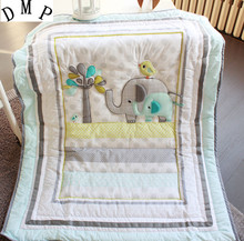 Promotion! 7pcs Embroidery baby bedding baby boy crib bedding set cuna jogo de cama,include (bumpers+duvet+bed cover+bed skirt)