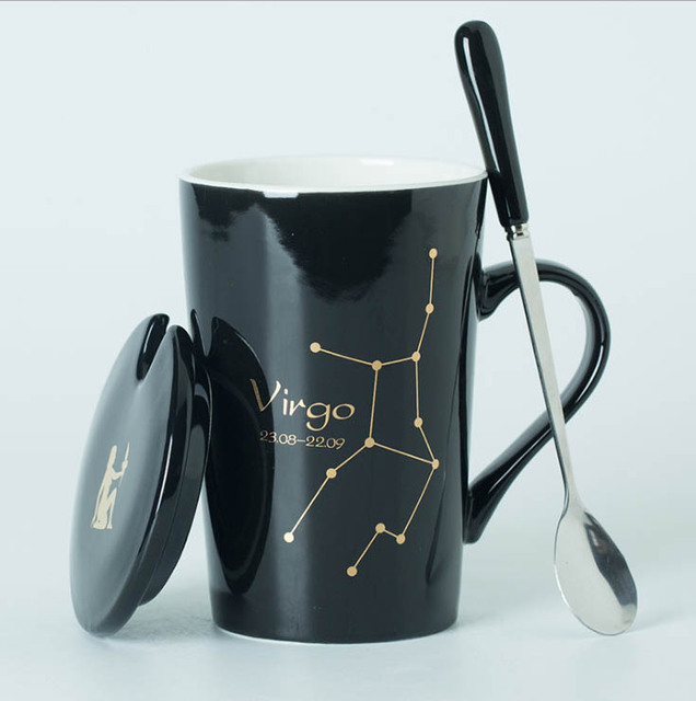 Ceramic Mugs 12 Constellations Creative Mugs with Spoon Lid Black and Gold Porcelain Zodiac Milk Coffee Cup Drinkware