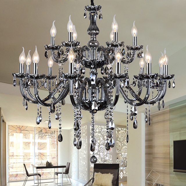 Chandelier 18 Arms Modern Crystal Chandeliers Moderne Kronleuchter Aus  Kristall Suppliers Smoke Crystal Lamp Dining Room