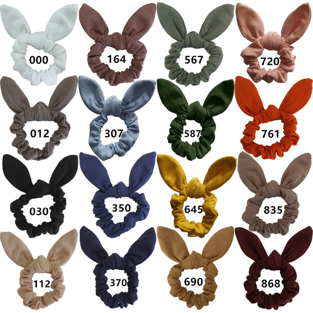 Girls Women Bunny Ear Hair Scrunchie Knot Bow Hair Band Hair tie Bows  Rabbit Ear Elastic Ponytail Holder Elastic Bands Hair bow 4848949d6a3