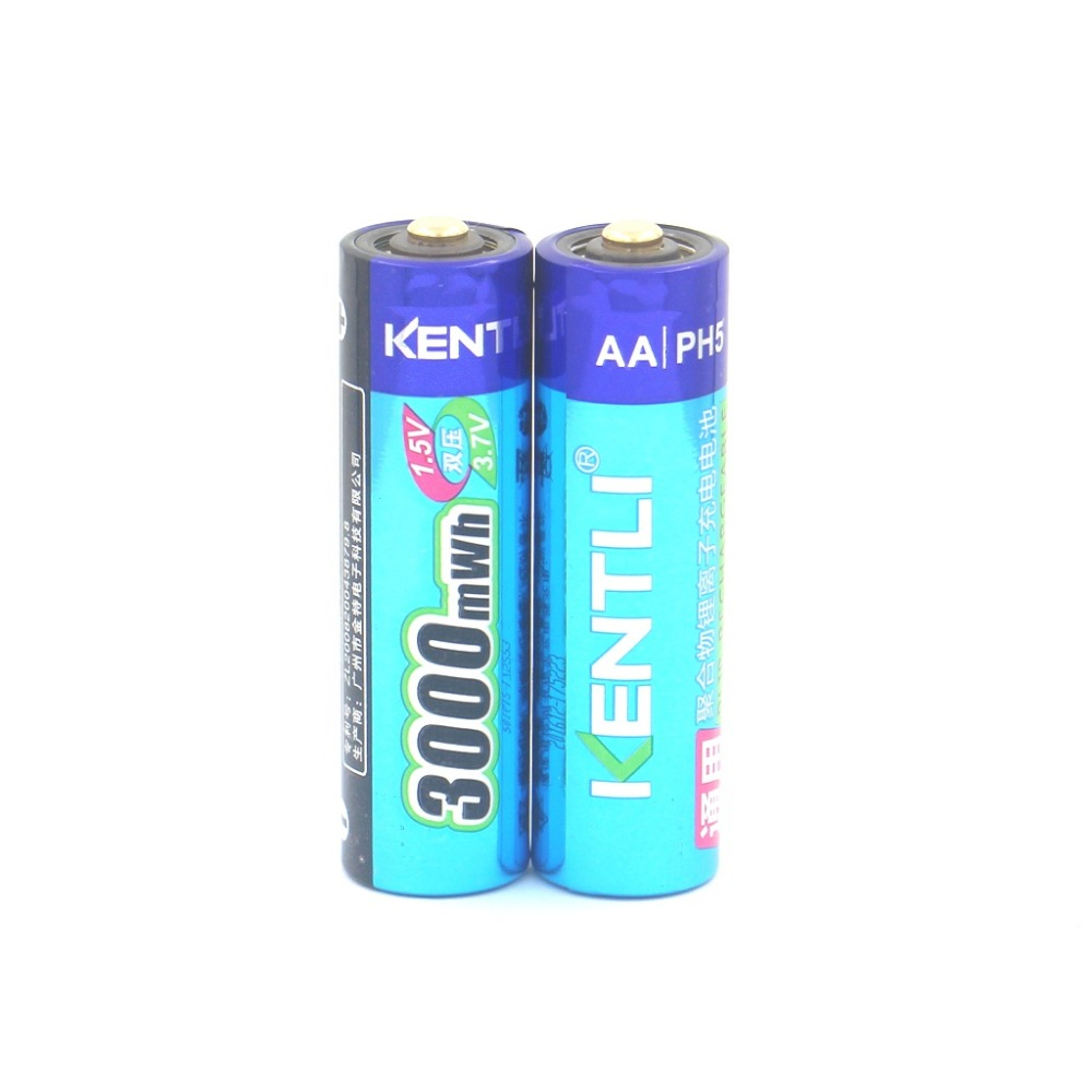 KENTLI 2 pcs 1.5V AA 3000mWh Lithium ion polymer Rechargeble Battery useful Camera ect .Stable voltage ! Market only product!